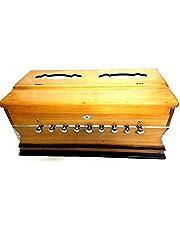 Harmonium 9 przystanków, 3 1/2 okawy, podwójna trzcina, sprzęgło, naturalny kolor, standard, buk, wyściełana torba, A440 tuningowane, indyjski instrument muzyczny/hinduskie Harmonium/profesjonalne Harmonium/ręcznie wykonane harmonijum