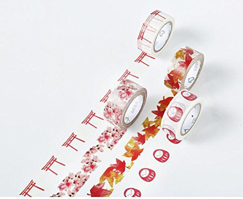 Home-organizer Tech Colorful Masking Tape Decorative Paper Tape with Pattern Designs, Cute Colored Collection From DIY Crew ( Cherry blossoms )