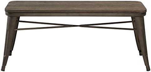 MyChicHome Raleigh, Rustic Industrial, Metal Body, Wooden Seat, Bench Entryway, Indoor, Outdoor, Patio, Garden, Dining in Gunmetal