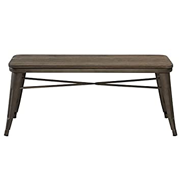Awesome Mychichome Raleigh Rustic Industrial Metal Body Wooden Seat Bench Entryway Indoor Outdoor Patio Garden Dining In Gunmetal Evergreenethics Interior Chair Design Evergreenethicsorg