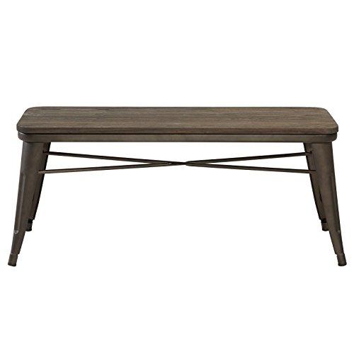 MyChicHome Raleigh, Rustic Industrial, Metal Body, Wooden Seat, Bench (Entryway, Indoor, Outdoor, Patio, Garden, Dining) in Gunmetal (Dining Outdoor Raleigh)