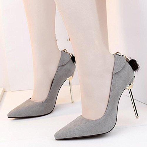 Femmes Stiletto Haut Talon A Souligné Les Chaussures De Travail Chaussures Clubbing Sexy Pointu Boîte De Nuit en Métal avec des Chaussures pour Femmes Gray oSxO5