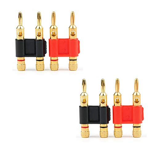 - ZXHAO 4 mm/0.16 inch Gold Plated Stackable Double Banana Plug Speaker Loudspeaker Plug 4pcs