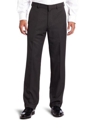 Haggar Men's Cool 18 Straight Fit Gabardine Plain Front Casual Pant,Dark Grey,30 / 32 (Gabardine Straight Leg Pants)