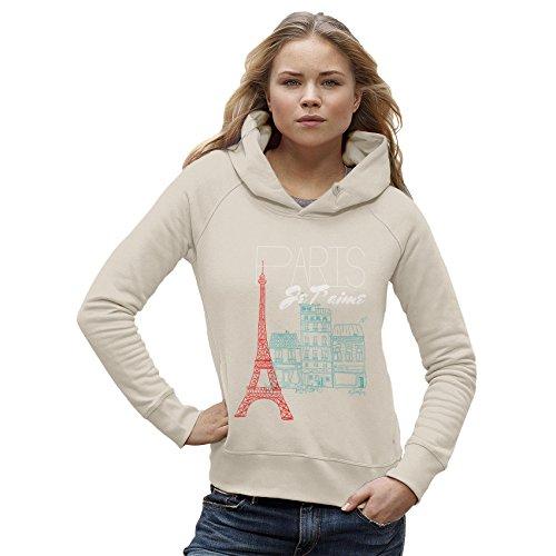 Twisted Envy Paris Je T'aime Paris I Love You Women's Vintage White Hoodie Medium