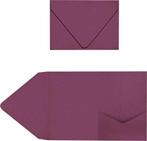 A7 Pocket Invitations (5 x 7) - Vintage Plum (50 Qty) | Perfect for Invitation Suites, Weddings, Announcements, Sending Cards, Elegant Events | LUX-A7PKT104-50