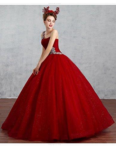 Kugel Emily Hochzeitskleider Pailletten Schulter Tunnelzug Beauty Ohne Wein eine Arme Rot T7FWwZ0q