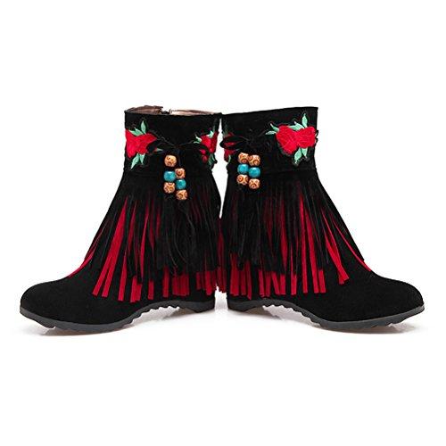 cuñas de Retro dos de Classic cremallera botines Nubuck niveles zapatos franja Agodor cuero negro de de con tacón para mujer medias bordado qSXwnUR8U
