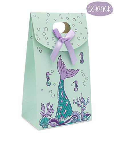 Mermaid Party Favor Gift Bags - 12 Pack, Treat, Goodie and Candy Bags, Party Supplies for Birthdays and Baby Showers