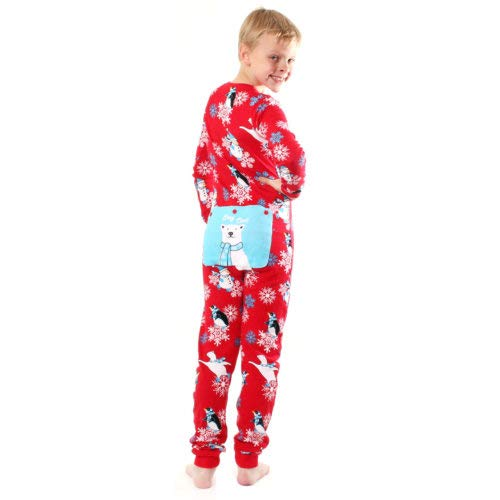 Red Union Suit Boys & Girls Kids Pajamas Stay Cool Polar Bear Deasign Sign on Rear Flap