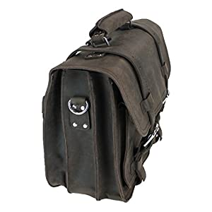 """Vagabond Traveler 17"""" CEO Heavy Duty Classic Leather Briefcase Backpack (Heavy 10LB) L01 DARK BROWN With Single Strap"""