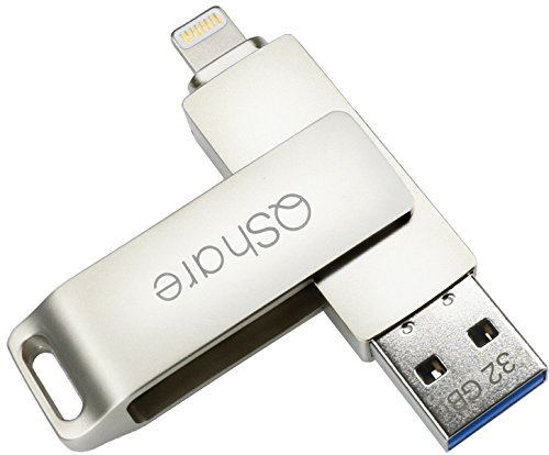 QShare USB 3.0 32GB iPhone Lightning Flash Drive for iPhone, iPhone X iPad iPod Touch External Storage,Touch ID Encryption and Apple MFI Certified