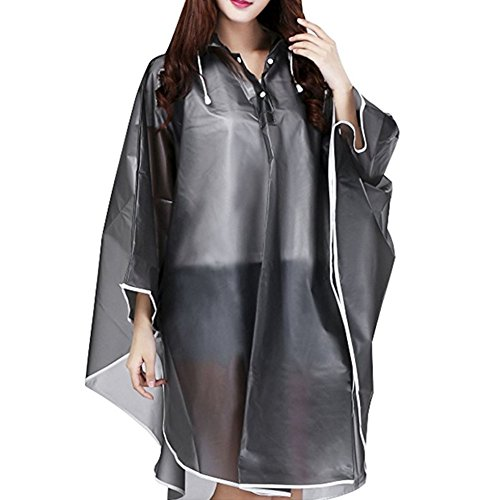 CHUANGLI Packable EVA Hiking Cycling Hooded Raincoat Poncho Electric Bicycle Motorcycle Single Raincoat Spot Black by CHUANGLI