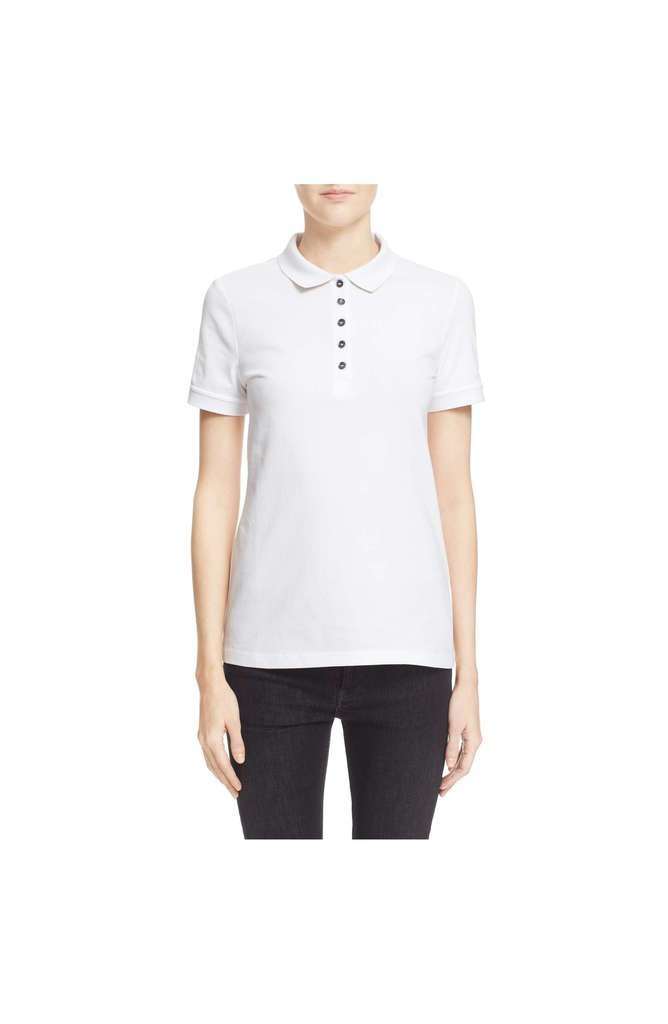 BURBERRY Women's Check Trim Cuffs and Collar Piqué Polo Shirt in White
