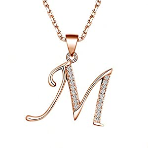 14K Rose Gold Plating Sterling Silver Initial Alphabet Pendant Necklace 18""