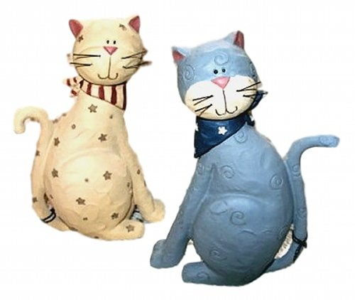 (Patriotic Grey Tabby & Cream CAT w/ Stars & Bandanas Set of 2 Resin Figurine )