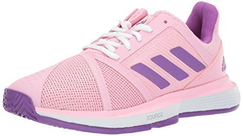 adidas Women's Courtjam Bounce, True Pink/Active Purple/White, 7.5 M US