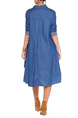 Neue Denim asymmetrische Shirt Stil Swing Kleid Club Wear Abend Party Sommer Kleider Festival tragen Größe M UK 10–12EU 38–40