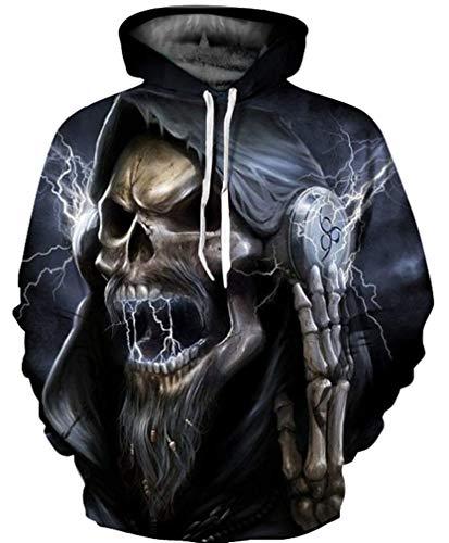 GLUDEAR Unisex Realistic Cool 3D Halloween Skull Print Pullover Hoodie Hooded Sweatshirt,S/M ()