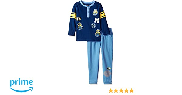 Universal Boys 2 Piece Minions Henley with Denim French Terry Pant