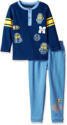 Universal Boys' Little 2 Piece Minions Henley with Denim French Terry Pant, Blue 6 -