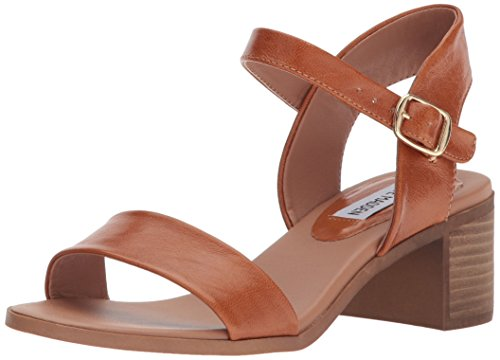 Women's Madden April Heeled Cognac Leather Sandal Steve 576xaAqw5