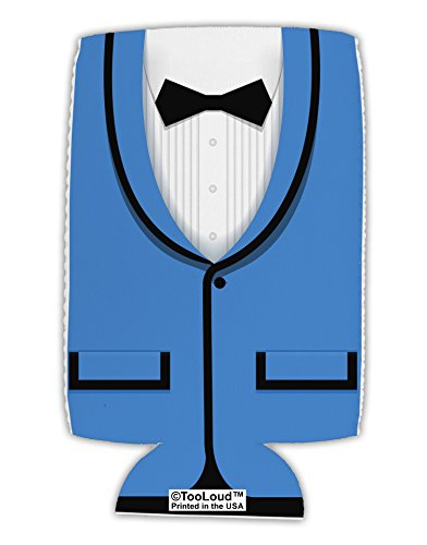 (TooLoud Blue Tuxedo Suit Costume Collapsible Neoprene Tall Can Insulator All Over)