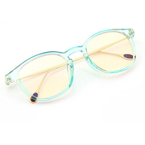 Amomoma Computer Gaming Glasses TR90+Metal Frame Anti Harmful Glare, UV and Blue Light Lens AM5002 Transparent light green Frame