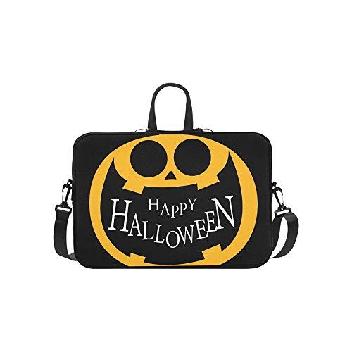 Pumpkin Jack O Lantern Icon Briefcase Laptop Bag Messenger Shoulder Work Bag Crossbody Handbag for Business Travelling -