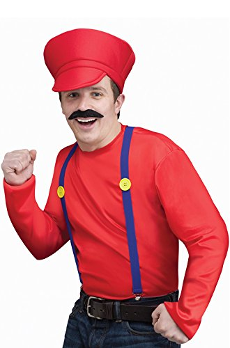 [Fun World Mens's Video Game Guy Kit Mario Luigi Red Green Standard Adult Costume (Green)] (Mario And Luigi Costumes For Teens)