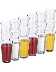 Relaxdays 10023413 Set de 18 Vasos, Juego de cristalería, Pared Gruesa, Elegante, Apto para lavavajillas, 500ml, Transparente, Cristal