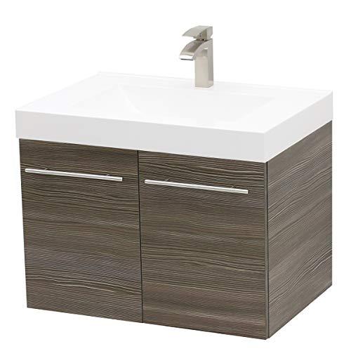 (WindBay Wall Mount Floating Bathroom Vanity Sink Set. Taupe Grey Vanity, White Integrated Sink Countertop - 35.25
