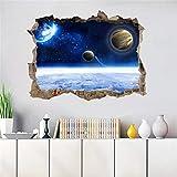 AMOFINY Home Decor Ks6648 3D Fantasy Broken Wall Planet Star Wall Sticker