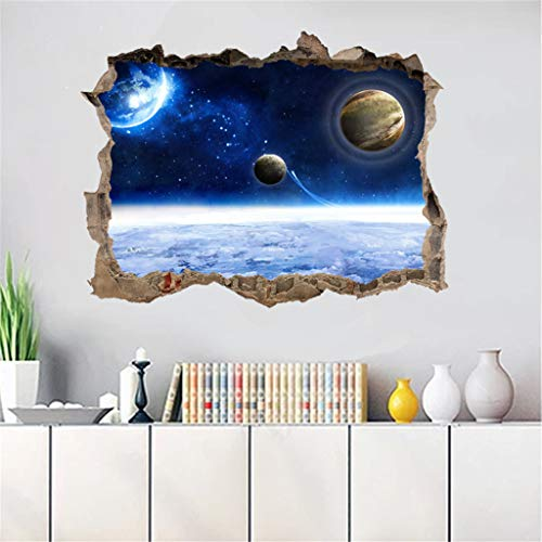 WOCACHI Wall Stickers Decals 3D Broken Wall Starry Wall Stickers with Planets Stars Sky Removable Wall Mural Art Mural Wallpaper Peel & Stick Removable Room Decoration Nursery Decor