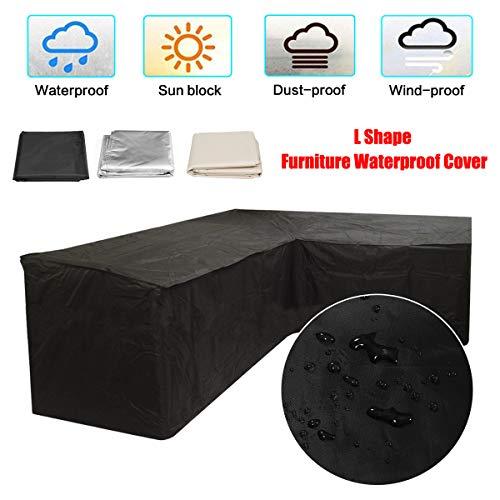 dDanke Patio L Shape Sofa Covers Dustproof Furniture Waterproof Cover Upper Length 2.5M & Lower Length 1.5M Black