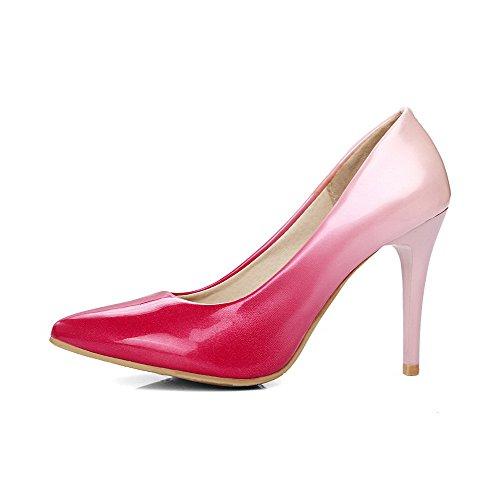 Donna Scarpe A di Alto VogueZone009 Flats Punta Puro Rosso Tacco Ballet Tirare Maiale Pelle 4qwTdT8