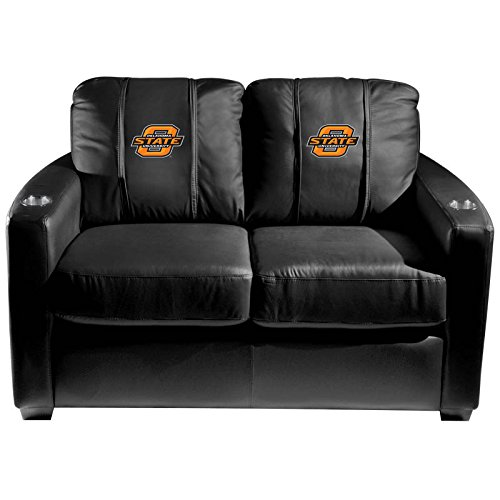 XZipit College Silver Loveseat with Oklahoma State Cowboys Logo Panel, Black