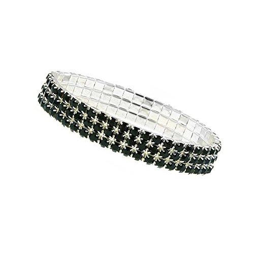 1928 Jewelry Three-Row Silver-Tone Jet Black Rhinestone Stretch Bracelet ()