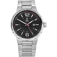[Patrocinado] Nobel clásico Unisex reloj de pulsera con pulsera de acero inoxidable, color negro/rojo–Ronda movimiento suizo