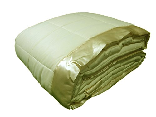 Cozy Fleece Down Alternative Blanket with Satin Trim, Full/Queen, (Ivory Satin Trim)