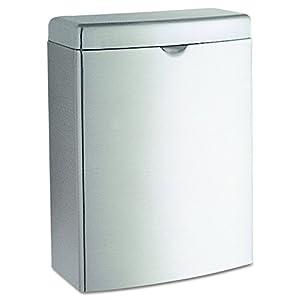 Bobrick 270 Contura Sanitary Napkin Receptacle, Rectangular, Stainless Steel, 1gal