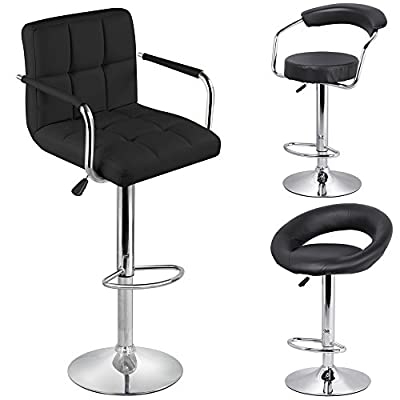 Yaheetech Pair of Black Synthetic Leather Adjustable Swivel Barstools Chair
