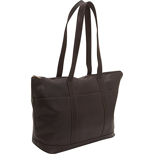One Pocket Tote - Le Donne Leather Double Strap Large Pocket Tote (Cafe)