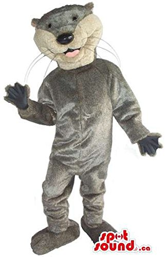 Mascots Costumes Canada (Cute Grey Otter Animal Plush Mascot SpotSound US With A White Face)