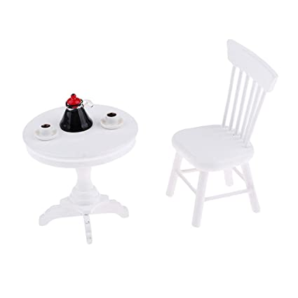Dollhouse Miniature Furniture White Round Table Model For 1//12 scale Coffee New
