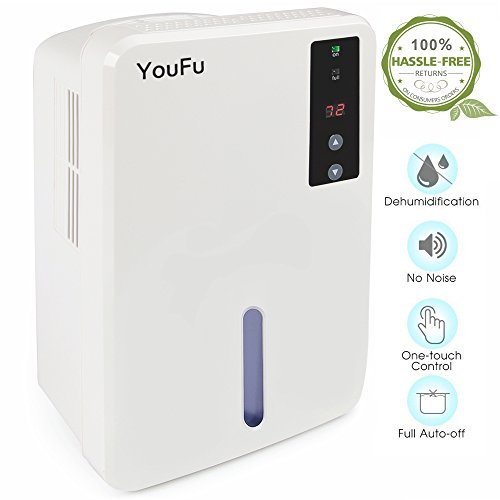 Dehumidifier, 1500ml Tank Powerful Thermo-Electric Intelligent Dehumidifier for Home, Quietly Gathers Up to 400ml - Great For bedrooms, bathrooms, RV, Laudry or basements Approx 1200 Cubic Feet by YOUFU