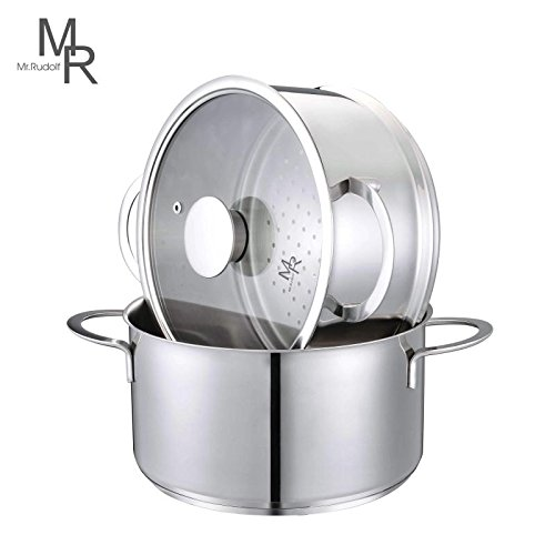 Mr. Rudolf 3 Pieces 18/10 Stainless Steel 8-inch 5 Quart Sauce Pot and 5 Quart Steamer Set with Glass Lid Dishwasher Safe PFOA Free (Stainless Sauce Select Steel Pot)