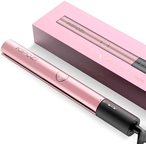 KIPOZI Hair Straightener, 2 in 1 Straightener and Curling iron, Titanium Flat Iron for Hair with Salon High Heat 450℉, V7 in Rose Gold