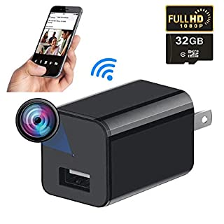 Mini WiFi Spy Camera Charger,1080P Hidden Camera,Portable Small HD Nanny Cam,Indoor USB Charger Covert Security Camera for Home and Office,Spy Wireless Hidden Camera with 32G Card