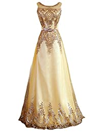 FANHAO Women's Sequined Plume Belt Lace-up Gold Long Prom Bridesmaid Dress